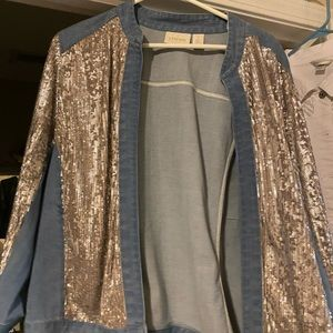 Chico's Jean and Silver Sparkles Jacket